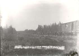 Laying track on the GTP at Telkwa, B.C., July 20, 1913 (descriptions992)