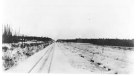 Image shows railroad tracks looking east of Smithers. (descriptions1337)