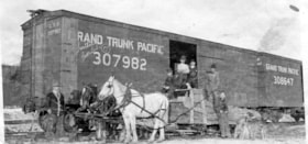 A Grand Trunk Pacific rail car at the Hubert, B.C., Transfe… (descriptions1495)
