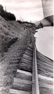 Washed out railroad tracks along the [Skeena River?] (descriptions1979)