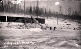 Loading ice blocks from Lake Kathlyn onto train cars (descriptions2070)