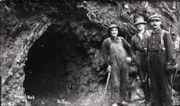 Three unidentified men at the mouth of Tunnel No. 1 (descriptions2093)