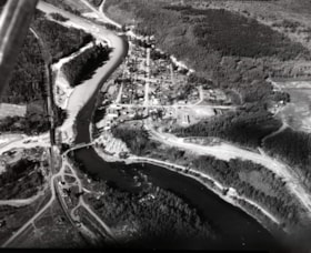 Aerial view of Telkwa and the two rivers, the Bulkley River… (descriptions2485)
