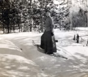 Dolly Sanborn (Howard's sister) snowshoeing at Telkwa. (descriptions2690)
