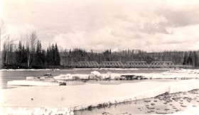 Postcard format.  The Bulkley River bridge in the spring. (descriptions2706)