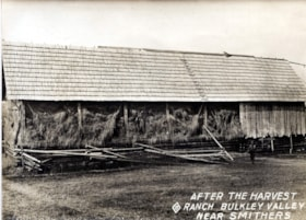 LARGE HAYBARN FULL TO THE RAFTERS OF LOOSE HAY.  WRITTEN ON… (descriptions2973)