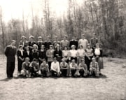 TELKWA HIGH SCHOOL PUPILS AND THEIR TEACHER.  MAY 22,1953. (descriptions3253)