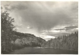 """Bulkley River at Trout Creek.  A thunderstorm approaching"". (descriptions3702)"