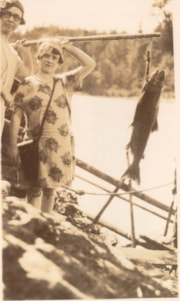 Stella Haverly and her daughter Eleanor holding a salmon at… (descriptions3828)