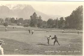 Playing ball in Hazelton, with Mt.Roche de Boule in the bac… (descriptions3841)