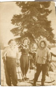 3 girls with skis at Malkow Lookout ski hill. (descriptions4314)