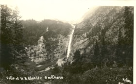 Postcard inscribed FALLS AT H.B. GLACIER SMITHERS (descriptions4457)