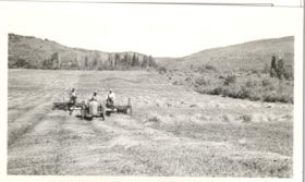 "3 men on tractor and rake, raking hay in a field ""McNeil Ra… (descriptions4570)"