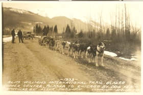 Dog Team pulling wheeled sled over grave road. 4x6 sepia re… (descriptions4710)