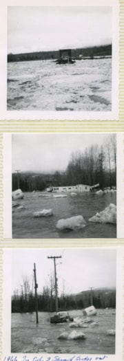 3 photographs of bridge destroyed by ice jam (descriptions4835)