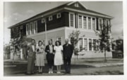 Staff photo in front of Smithers High School (descriptions5657)