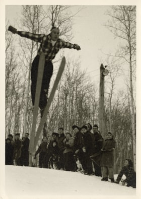 Crowd watching a ski jumper (descriptions6588)