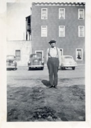 Pete Skuba in front of Bulkley Hotel, Smithers, B.C. (descriptions5980)