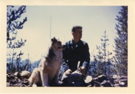 Tom Mesich with dog, Rexy, prospecting (descriptions6156)