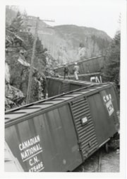 Canadian National Railway Kitselas wreck, April 26, 1969 (descriptions6250)