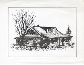 Card with a drawing of a 1915 GTP built home (descriptions6593)