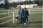 4H girl and woman with sheep at Fall Fair (descriptions9172)