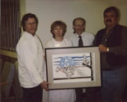 "Robert Sebastian and BV Hospital staff with ""Running cougar… (descriptions10072)"
